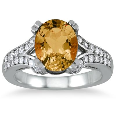 3 Carat Oval Citrine and Diamond Ring in 10K White Gold