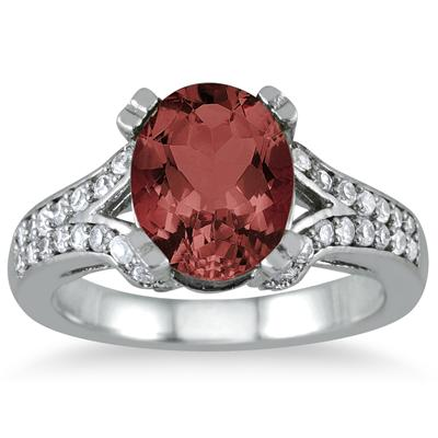 3 Carat Oval Garnet and Diamond Ring in 10K White Gold