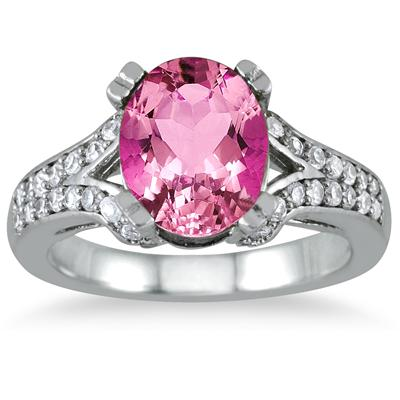 3 Carat Oval Pink Topaz and Diamond Ring in 10K White Gold