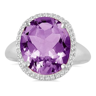 7 Carat Oval Amethyst and Diamond Ring in 14K White Gold
