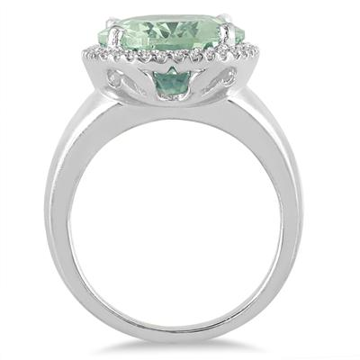 7 Carat Oval Green Amethyst and Diamond Ring in 14K White Gold