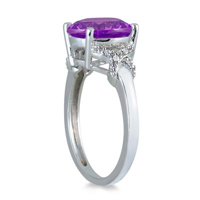 3 1/2 Carat Round Amethyst and Diamond Ring in 10K White Gold