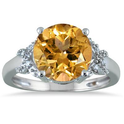 3 1/2 Carat Round Citrine and Diamond Ring in 10K White Gold