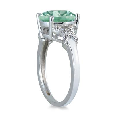 3 1/2 Carat Round Green Amethyst and Diamond Ring in 10K White Gold