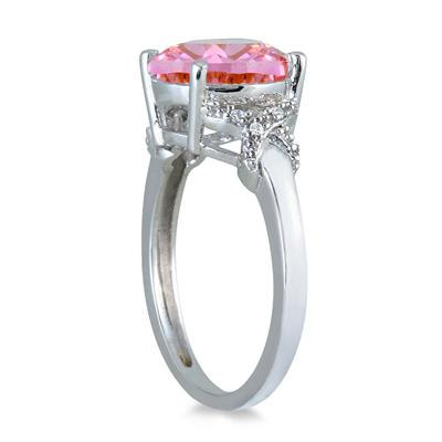 3 1/2 Carat Round Pink Topaz and Diamond Ring in 10K White Gold