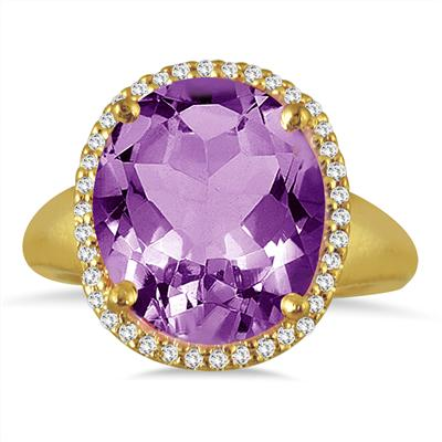 7 Carat Oval Amethyst and Diamond Cocktail Ring in 14K Yellow Gold
