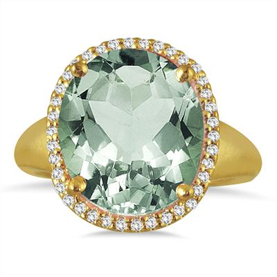 7 Carat Oval Green Amethyst and Diamond Ring in 14 K Yellow Gold