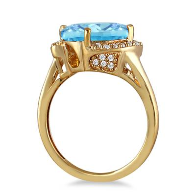 4 1/2 Carat Oval Blue Topaz and Diamond Ring in 14K Yellow Gold