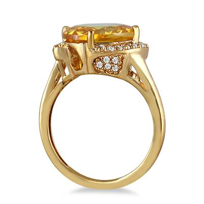 4 1/2 Carat Oval Citrine and Diamond Ring in 14K Yellow Gold