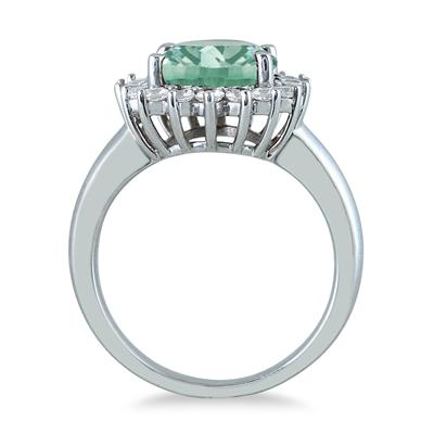 4 Carat Green Amethyst and Diamond Ring in 14K White Gold