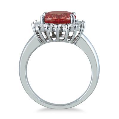 4 Carat Garnet and Diamond Ring in 14K White Gold