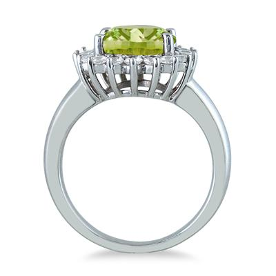 4 Carat Peridot and Diamond Ring in 14K White Gold