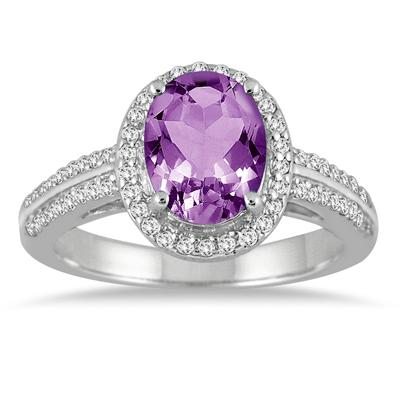 2 1/2 Carat Oval Amethyst and Diamond Halo Ring in 14K White Gold