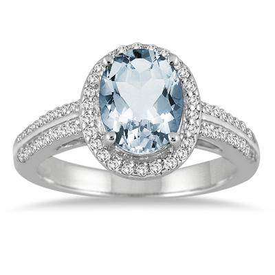1 3/4 Carat Oval Aquamarine and Diamond  Ring in 14K White Gold