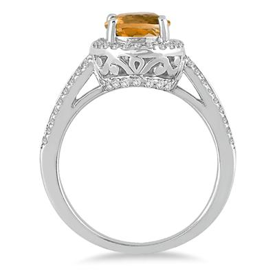 2 1/2 Carat Oval Citrine and Diamond  Ring in 14K White Gold