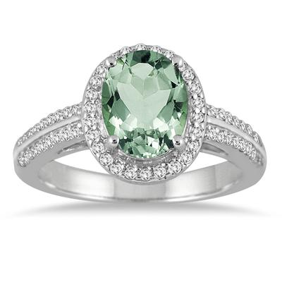 2 1/2 Carat Oval Green Amethyst and Diamond Ring in 14K White Gold