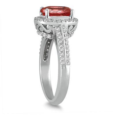 2 1/2 Carat Oval Garnet and Diamond Ring in 14K White Gold