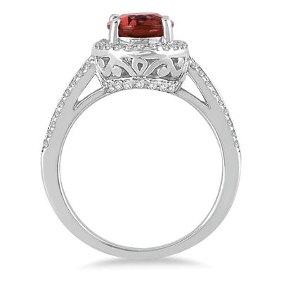 2 1/2 Carat Oval Garnet and Diamond Ring in 14K White Gold