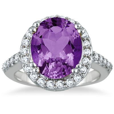 5 Carat Amethyst and Diamond Halo Ring in 14K White Gold