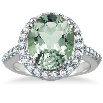 5 Carat Green  Amethyst and Diamond Ring in 14K White Gold