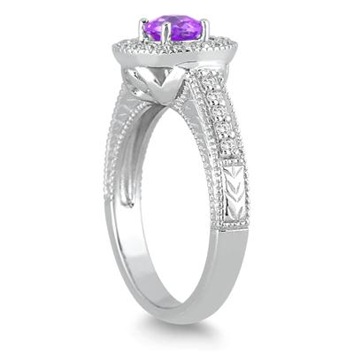 1/2 Carat Amethyst and Diamond  Ring in 10K White Gold