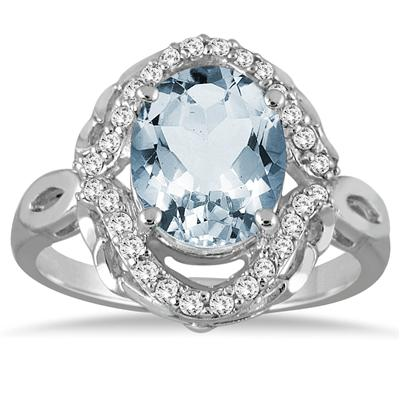 3 1/2 Carat Oval Aquamarine and Diamond Ring in 10K White Gold