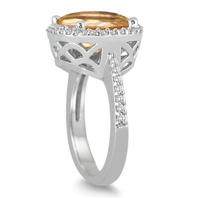 8 Carat Oval Citrine and Diamond Ring in 14K White Gold