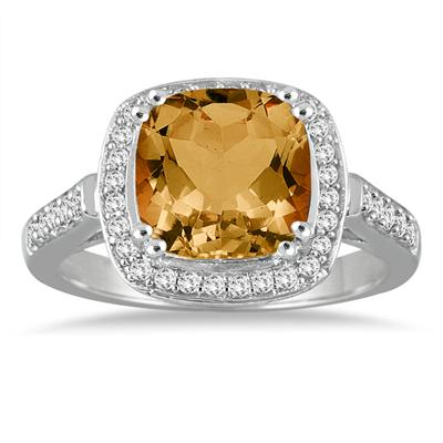 3 1/2 Carat Cushion Cut Citrine and Diamond Ring in 14K White Gold