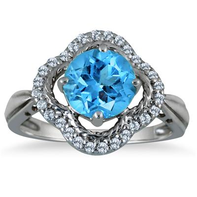 2.25 Carat Blue Topaz and Diamond Ring in 10K White Gold