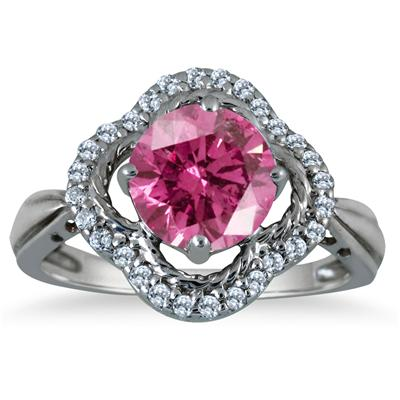 2.25 Carat Pink Topaz and Diamond Ring in 10K White Gold