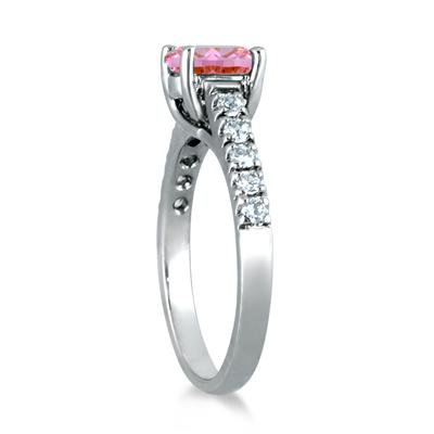 1 Carat Oval Pink Topaz and Diamond Ring in 14K White Gold