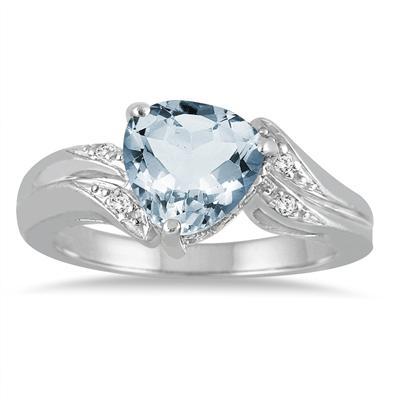 2 1/4 Carat Trillion Cut Aquamarine and Diamond Ring in 10K White Gold