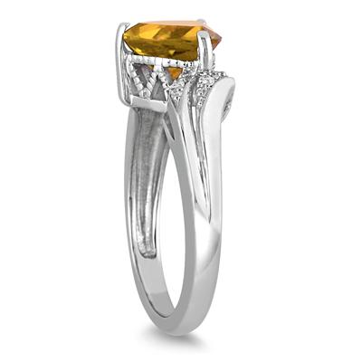 2 1/4 Carat Trillion Cut  Citrine and Diamond Ring in 10K White Gold