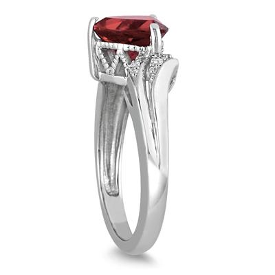 2 1/4 Carat Trillion Cut Garnet and Diamond Ring in 10K White Gold