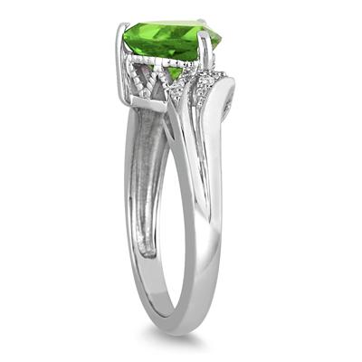 2 1/4 Carat Trillion Cut Peridot and Diamond Ring in 10K White Gold