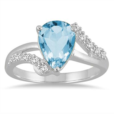 2 Carat Pear Shape Blue Topaz and Diamond Ring in 10K White Gold