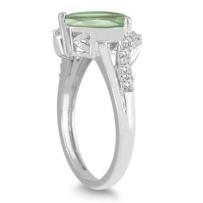 2 Carat Pear Shape Green Amethyst and Diamond Ring in 10K White Gold