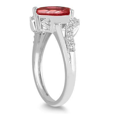 2 Carat Pear Shape Garnet and Diamond Ring in 10K White Gold