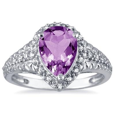 2 Carat Pear Shaped Amethyst and Diamond Ring in 10K White Gold