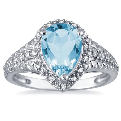 2 Carat Pear Shaped Blue Topaz and Diamond Ring in 10K White Gold