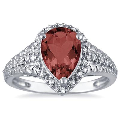 2 Carat Pear Shaped Garnet and Diamond Ring in 10K White Gold