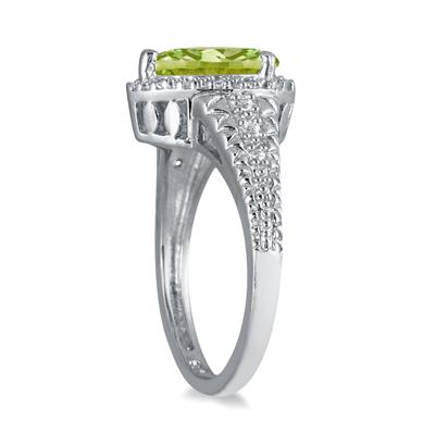 2 Carat Pear Shaped Peridot and Diamond Ring in 10K White Gold