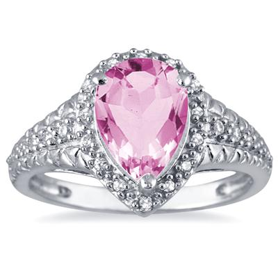 2 Carat Pear Shaped Pink Topaz and Diamond Ring in 10K White Gold
