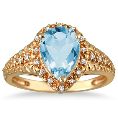 2 Carat Pear Shaped Blue Topaz and Diamond Ring in 10K Yellow Gold