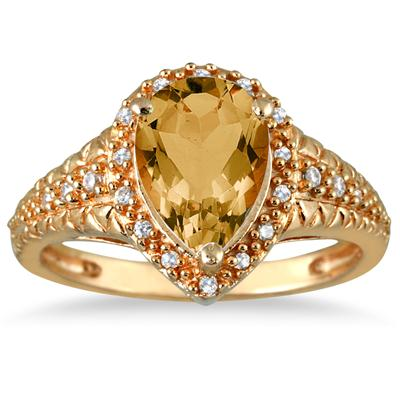 2 Carat Pear Shaped Citrine and Diamond Ring in 10K Yellow Gold