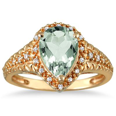 2 Carat Pear Shaped Green  Amethyst and Diamond Ring in 10K Yellow Gold