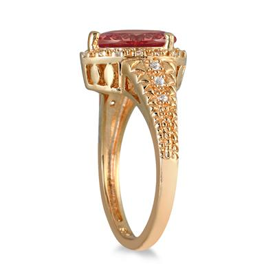 2 Carat Pear Shaped Garnet and Diamond Ring in 10K Yellow Gold