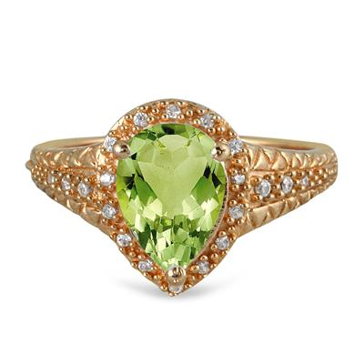 2 Carat Pear Shaped Peridot  and Diamond Ring in 10K Yellow Gold