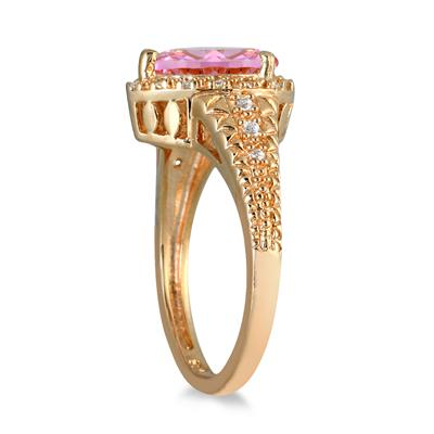 2 Carat Pear Shaped Pink Topaz and Diamond Ring in 10K Yellow Gold