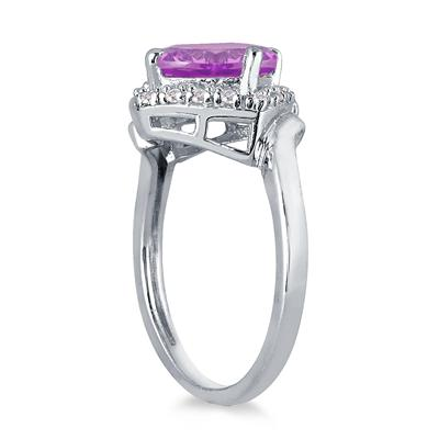 2 1/2 Carat Cushion Cut Amethyst and Diamond Ring in 10K White Gold